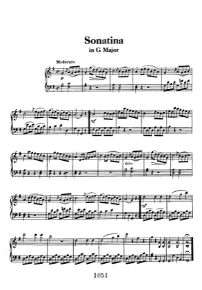 Thumbnail of first page of Sonatina in G AnH 5 piano sheet music PDF by Beethoven.