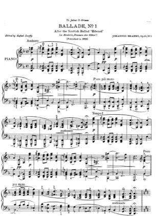 Thumbnail of first page of No. 1 in D minor. Andante piano sheet music PDF by Brahms.