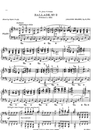 Thumbnail of first page of No. 2 in D major. Andante piano sheet music PDF by Brahms.