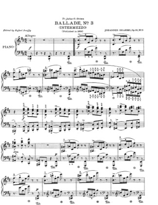 Thumbnail of first page of No. 3 in B minor. Intermezzo. Allegro piano sheet music PDF by Brahms.