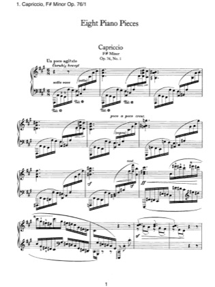 Thumbnail of first page of No.1 Capriccio, F# Minor piano sheet music PDF by Brahms.
