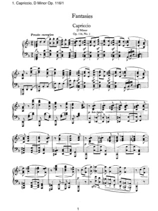 Thumbnail of first page of Fantasien 1. Capriccio, Op.116 piano sheet music PDF by Brahms.