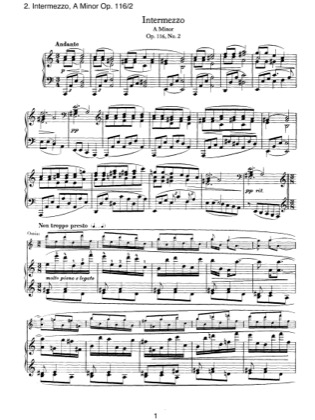 Thumbnail of first page of Fantasien 2. Intermezzo, Op.116 piano sheet music PDF by Brahms.