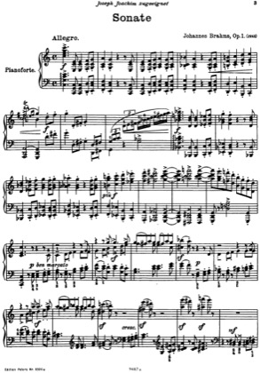 Thumbnail of first page of Piano Sonata No.1 in C major piano sheet music PDF by Brahms.