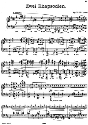 Thumbnail of first page of Rhapsodies Op. 79 piano sheet music PDF by Brahms.