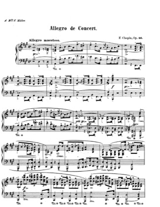 Thumbnail of first page of Allegro de Concert Op.46 piano sheet music PDF by Chopin.