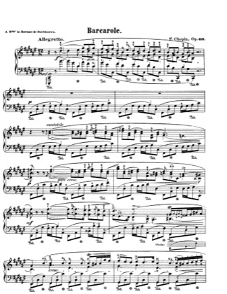 Thumbnail of first page of Barcarolle Op.60 piano sheet music PDF by Chopin.