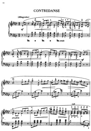 Thumbnail of first page of Contredanse in G sharp major piano sheet music PDF by Chopin.