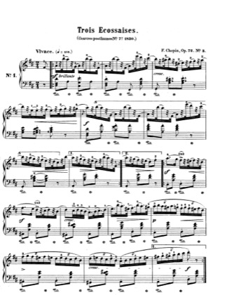 Thumbnail of first page of Ecossaises Op.72/3 piano sheet music PDF by Chopin.
