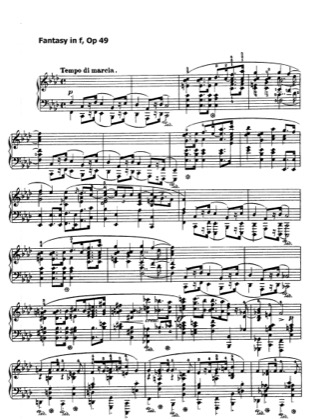 Thumbnail of first page of Fantasy in f minor, Op.49 piano sheet music PDF by Chopin.