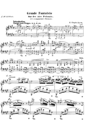 Thumbnail of first page of Grande Fantaisie Op.13 piano sheet music PDF by Chopin.