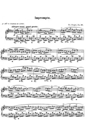 Thumbnail of first page of Impromptu, A flat Major, Op.29 piano sheet music PDF by Chopin.