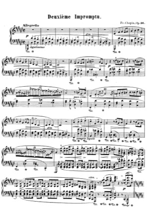 Thumbnail of first page of Impromptu, F sharp Major, Op.36 piano sheet music PDF by Chopin.