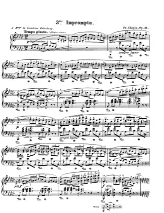 Thumbnail of first page of Impromptu, G flat Major, Op.51 piano sheet music PDF by Chopin.