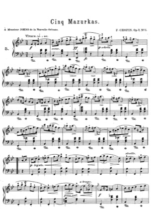 Thumbnail of first page of Mazurkas Op.7 piano sheet music PDF by Chopin.