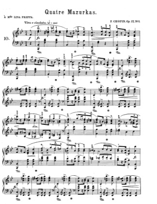 Thumbnail of first page of Mazurkas Op.17 piano sheet music PDF by Chopin.