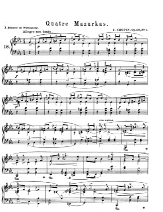 Thumbnail of first page of Mazurkas Op.30 piano sheet music PDF by Chopin.