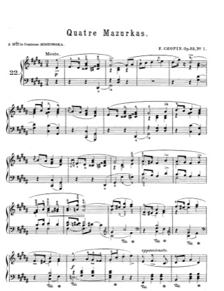 Thumbnail of first page of Mazurkas Op.33 piano sheet music PDF by Chopin.