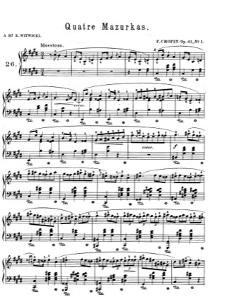 Thumbnail of first page of Mazurkas Op.41 piano sheet music PDF by Chopin.