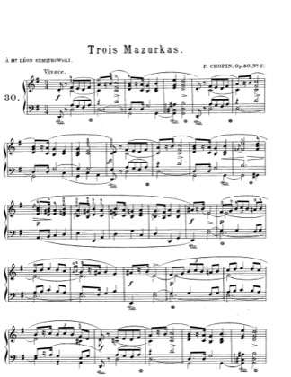 Thumbnail of first page of Mazurkas Op.50 piano sheet music PDF by Chopin.