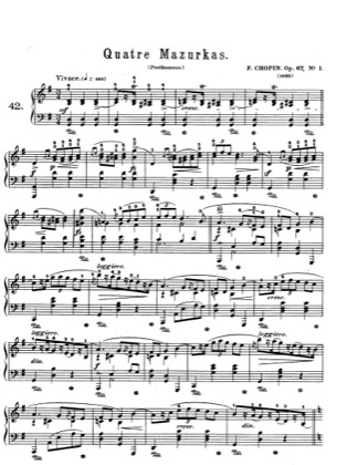 Thumbnail of first page of Mazurkas Op.67 piano sheet music PDF by Chopin.