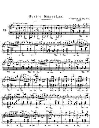 Thumbnail of first page of Mazurkas Op.68 piano sheet music PDF by Chopin.