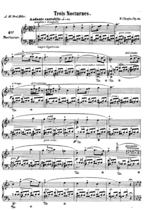 Thumbnail of first page of Nocturnes Op.15 piano sheet music PDF by Chopin.