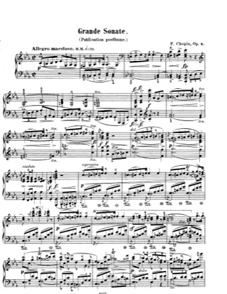 Thumbnail of first page of Sonata No.1 in c minor, Op.4 piano sheet music PDF by Chopin.
