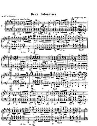 Thumbnail of first page of Polonaises, Op.40 piano sheet music PDF by Chopin.