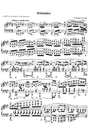 Thumbnail of first page of Polonaise in f sharp minor, Op.44 piano sheet music PDF by Chopin.