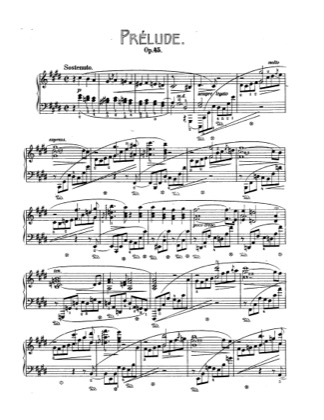 Thumbnail of first page of Prelude in c sharp minor, Op.45 piano sheet music PDF by Chopin.
