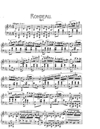 Thumbnail of first page of Rondo in c minor, Op.1 piano sheet music PDF by Chopin.