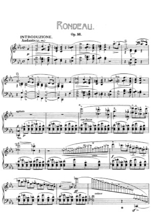 Thumbnail of first page of Rondo E flat Major, Op.16 piano sheet music PDF by Chopin.