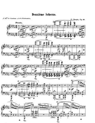 Thumbnail of first page of Scherzo in B flat Minor, Op.31 piano sheet music PDF by Chopin.