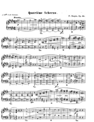Thumbnail of first page of Scherzo in E Major, Op.54 piano sheet music PDF by Chopin.