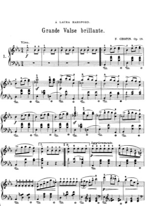 Thumbnail of first page of Waltz Op.18 piano sheet music PDF by Chopin.