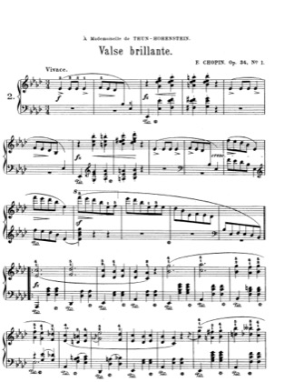 Thumbnail of first page of Waltzes Op.34 piano sheet music PDF by Chopin.
