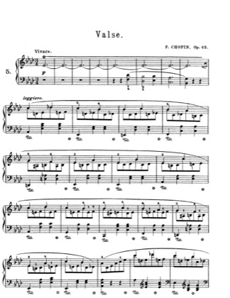 Thumbnail of first page of Waltz Op.42 piano sheet music PDF by Chopin.