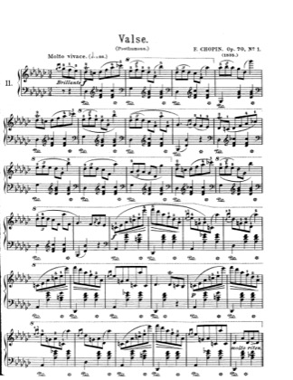 Thumbnail of first page of Waltzes Op.70 piano sheet music PDF by Chopin.