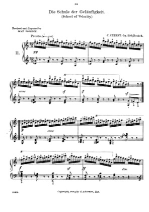 Thumbnail of first page of School of Velocity (Book 2) piano sheet music PDF by Czerny.