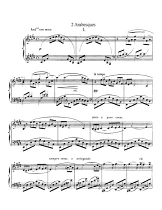 Thumbnail of first page of 2 Arabesques, L.66 piano sheet music PDF by Debussy.