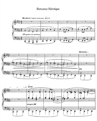 Thumbnail of first page of Berceuse heroique, L.132 piano sheet music PDF by Debussy.