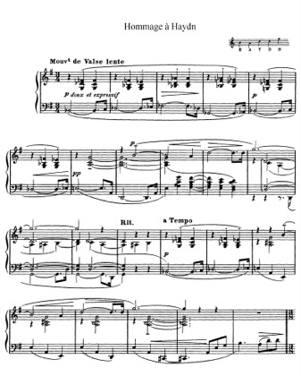 Thumbnail of first page of Hommage a Haydn, L. 115 piano sheet music PDF by Debussy.