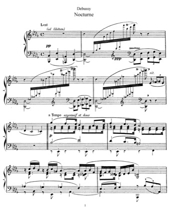 Thumbnail of first page of Nocturne piano sheet music PDF by Debussy.