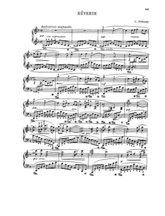Thumbnail of first page of Reverie piano sheet music PDF by Debussy.