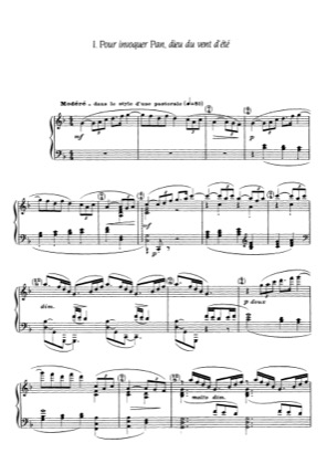 Thumbnail of first page of Six epigraphes antiques piano sheet music PDF by Debussy.