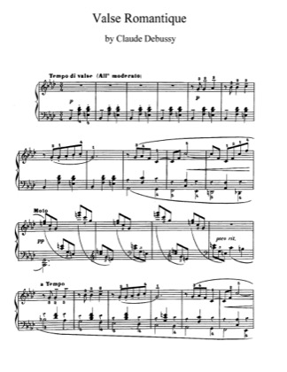 Thumbnail of first page of Valse Romantique L.71 piano sheet music PDF by Debussy.