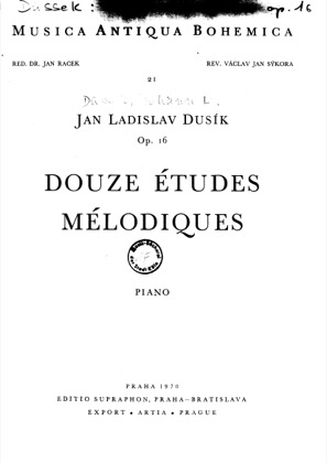 Thumbnail of first page of 12 Etudes Melodiques, Op.16 piano sheet music PDF by Dussek.