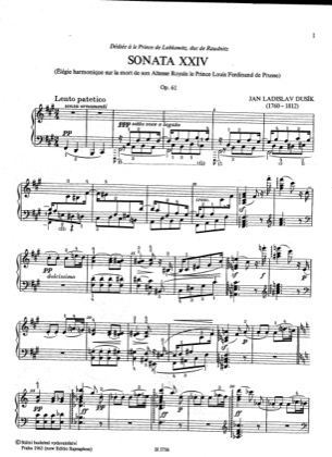 Thumbnail of first page of Sonata No.24, Op.61 piano sheet music PDF by Dussek.