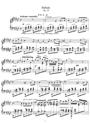 Thumbnail of first page of Ballade, Op.19 piano sheet music PDF by Faure.